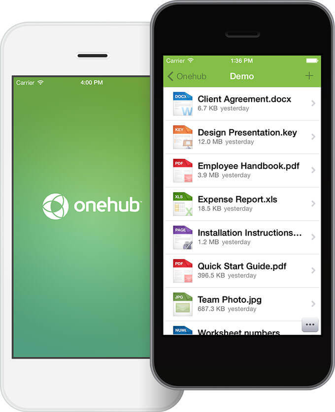 Onehub for iPhone screenshot.